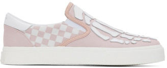 Amiri Pink Checkered Skeleton Slip-On Sneakers