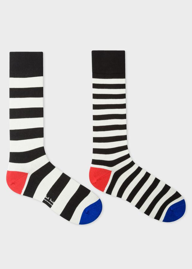 Thumbnail for your product : Men's Black And Cream Stripe Odd Socks