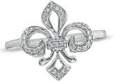 Zales 1/10 CT. T.W. Diamond Fleur-de-Lis Ring in 10K White Gold