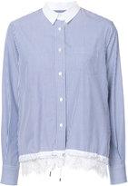 Sacai lace insert drawstring shirt