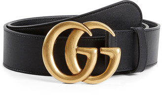 Gucci Leather Belt With Double G Buckle In Nero in Nero | FWRD