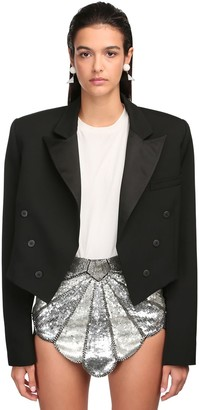 ATTICO Cropped Wool Gabardine Jacket