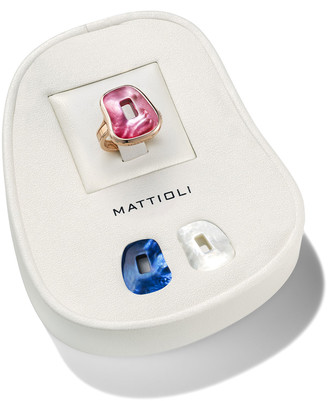 Mother of Pearl Mattioli Small 18k Rose Gold Mother-of-Pearl Puzzle Ring, Set of 3