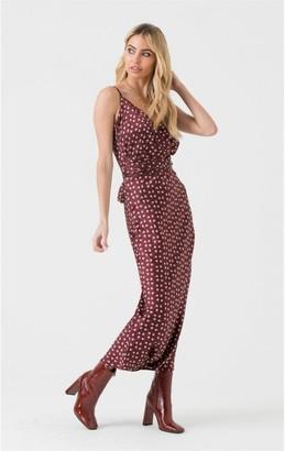 LIENA Cami Wrap Tie Midi Dress in Burgundy Spot