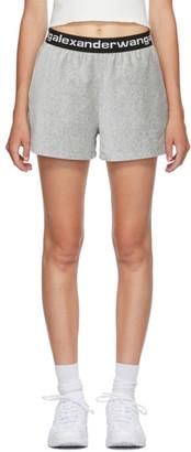 Alexander Wang Grey Corduroy Logo Shorts