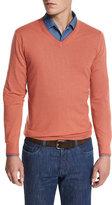 Loro Piana Cashmere V-Neck Sweater, Paprika