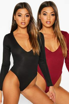 boohoo 2 Pack V Neck Knitted Bodysuit