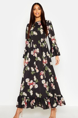 boohoo Ruffle Hem and Sleeve Maxi Dress