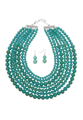 Eye Candy Los Angeles Stone Layered Necklace & Earrings Set