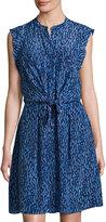 Rebecca Taylor Batik Mirage Twist-Front Silk Dress, Blue