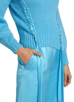 Alejandra Alonso Rojas Ribbon Braided Cashmere & Wool Knit Sweater
