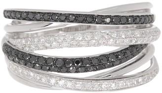 Effy 14K White Gold Pave Diamond Woven Multi-Band Ring - Size 7 - 0.56 ctw
