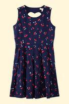 Yumi Girls Cherry Sleeveless Pleat Dress Navy