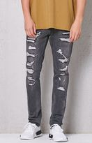 PacSun Skinny Grey Destroyed Stitch & Repair Jeans