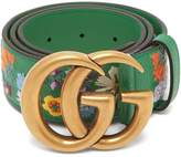 Gucci Floral-embroidered GG-logo leather belt
