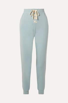 Eberjey Mason Lace-up Stretch-pima Cotton And Modal-blend Track Pants - Sky blue