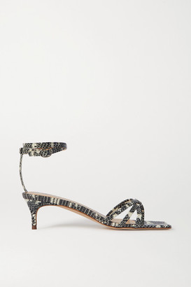 BY FAR Kaia Snake-effect Leather Sandals - Snake print