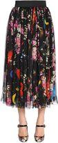 Dolce & Gabbana Flowers & Space Print Chiffon Midi Skirt