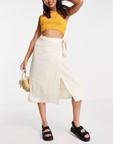 Thumbnail for your product : Monki Minou gingham midi wrap skirt in beige and white