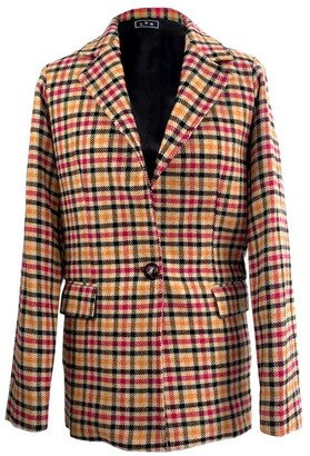 L2r The Label Single-B Blazer: Multicolored Tartan Tweed