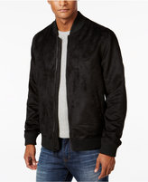 Sean John Men's Black Faux-Suede Bomber Jacket