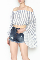 Hommage Striped Off Shoulder Top