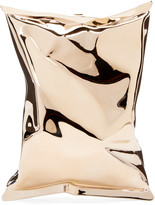 Anya Hindmarch Gold Crisp Packet II Clutch