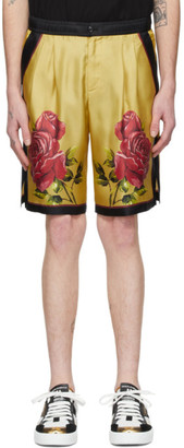 Dolce & Gabbana Yellow Silk Rose Bermuda Shorts