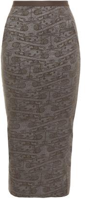 Rick Owens Lilies Metallic Printed Jersey Midi Skirt
