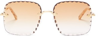 Chloé Rosie Oversized Square Metal Sunglasses - Womens - Gold