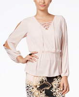 Thalia Sodi Lace-Up Peplum Blouse, Only at Macy's