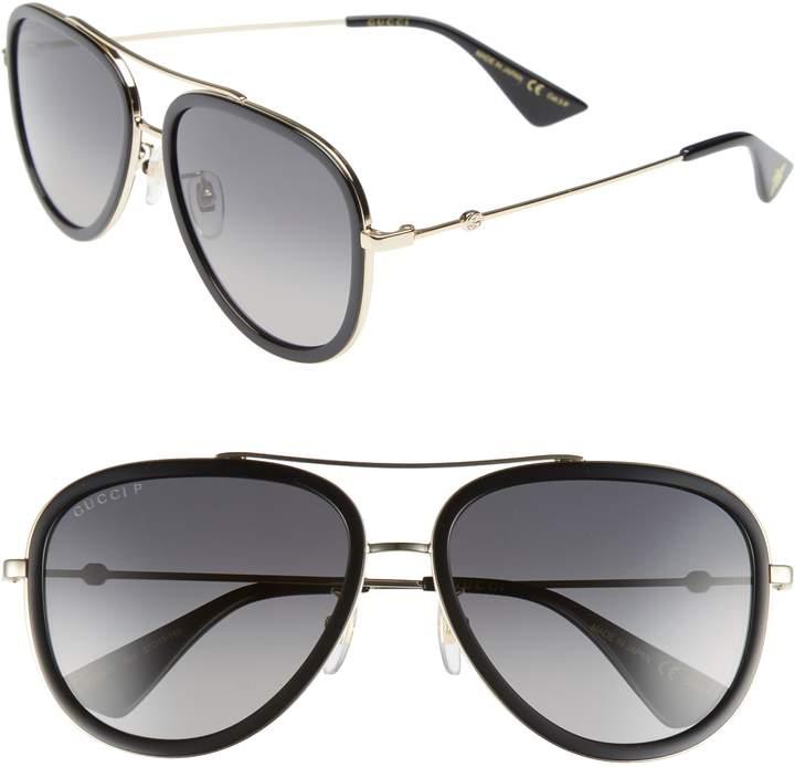 Gucci Web Block Pilot 57mm Polarized Aviator Sunglasses