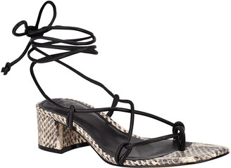 Marc Fisher Jacinda Mixed Leather Ankle-Tie Sandals