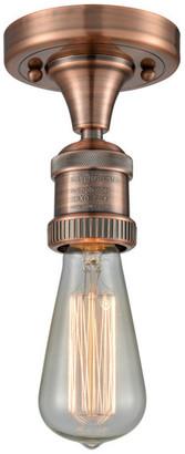 Innovations Lighting Bare Bulb 1-Light Dimmable LED Semi-Flush Mount, Antique Copper