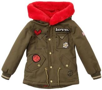 Little Marc Jacobs Cotton Gabardine Coat W/ Faux Fur