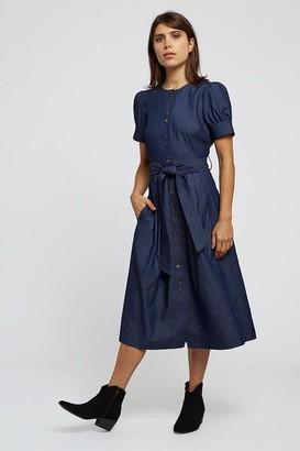 Louche Dayan Denim Midi Tea Dress - 8