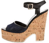 Fendi Denim Wedge Sandals