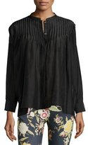Etro Long-Sleeve Pleated Tunic Top, Black