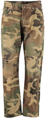 R 13 Camouflage Print Boyfriend Jeans