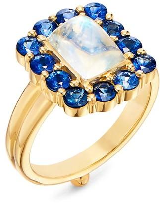 Temple St. Clair Dreamcatcher 18K Yellow Gold, Blue Moonstone & Blue Sapphire Ring