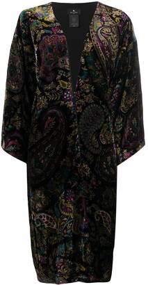 Etro Floral Paisley Print Silk Single-Breasted Coat