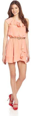 My Michelle Juniors 34 Inch One Shoulder Ruffle Neckline Drap Dress