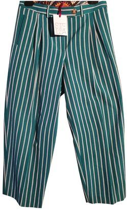 Stella Jean Green Cotton Trousers