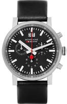 Mondaine Evo Stainless Steel And Leather Chronograph Watch - Black