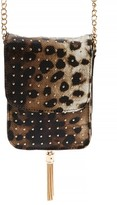 Amici Accessories Leopard Print Faux Leather Phone Crossbody Bag - Brown