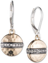 Nine West Tri-Tone Pave Disc Drop Earrings