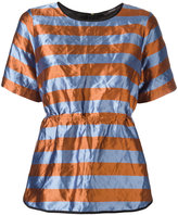 Odeeh striped crinckled top - women - Cotton/Polyester/Metallic Fibre - 36