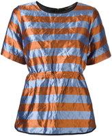 Odeeh striped crinckled top - women - Cotton/Polyester/Metallic Fibre - 38