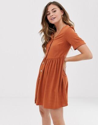 New Look button through smock dress in rust-Orange