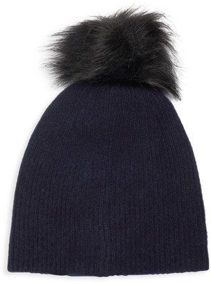 Saks Fifth Avenue Knit Cashmere & Faux-Fur Pom-Pom Hat